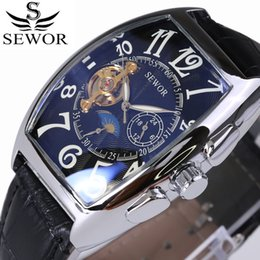 Luxury Men Watch Tourbillon NZ - SEWOR Top Luxury Brand Rectangular Tourbillon Men Watches Automatic Mechanical watch Fashion Vintage Clock relogio masculino D18100706