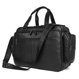 Chinese  Fashion Portfolio Genuine Leather Men Briefcase laptop Bag Leather Briefcase men Business Bag Tote Handbag Shoulder Black manufacturers