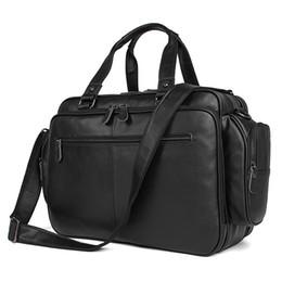Vente en gros Portefeuille en cuir véritable hommes mallette pour ordinateur portable sac en cuir serviette hommes Business sac fourre-tout sac à main épaule noir