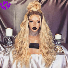 black blonde ombre wig NZ - Fashion Ombre synthetic lace Wig body wave synthetic wig Glueless Straight black root blonde lace front wig for black women