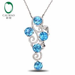 1b28a8cb0c5d Colgante de oro blanco natural de 14 quilates y topacio azul de diamante  sin defectos
