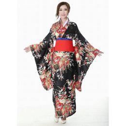 $enCountryForm.capitalKeyWord NZ - Japanese Traditional Girl Flower Geisha Kimono Vintage Women Stage Show Costume Cosplay Hell Girls Enma Women Sakura Suit