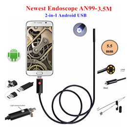 waterproof endoscope camera NZ - AN99 3.5M 6LED 2 IN 1 Android Endoscope IP67 Waterproof 5.5MM Inspection Camera Micro USB Video Borescope Camera