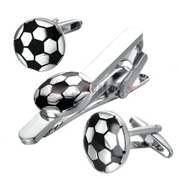 9a0aaabd6430 Yoursfs Football Cufflinks + Tie clip sets Black White Soccer cuff button + Tie  Bar Sets High Quality Brass Copper