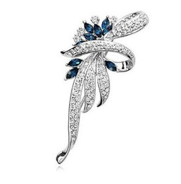 lapel brooch chain UK - Hot 2017 Crystal Flower Brooch Lapel Pin Fashion Rhinestone Jewelry Women Wedding Hijab Pins Large Brooches For Women