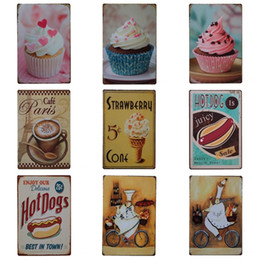 Sweet Dessert Cake Design Tin Sign Original Coffee Iron Painting для десертов Магазин Western Restaurant Hang Tins Poster 20 * 30 см Z