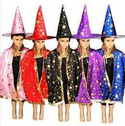 $enCountryForm.capitalKeyWord Australia - Hot Halloween Party Five-star Cloak Cap Set Children Magician Witch Cosplay Performance Cloak Hat Props Red Black Blue Pink Yellow Purple