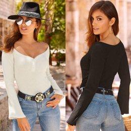 $enCountryForm.capitalKeyWord Australia - Fashion Women T-shirt V-neck Long Sleeve Autumn Casual Shirt Summer Tops T-Shirt Solid White Black