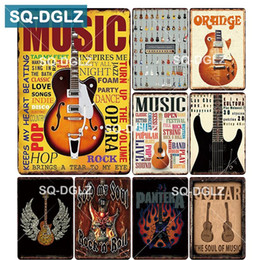 Discount guitar art posters - [SQ-DGLZ] MUSIC GUITAR Metal Sign Bar Wall Decoration Tin Sign Vintage Metal Signs Home Decor Painting Plaques Art Poste