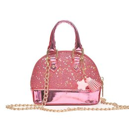 Handbags for cHildren online shopping - Children Mini Shoulder Bags for Girls Shinning Glitter Purse for Toddler Kids Shell Sequin Bags with Chain Cute Handbags color KKA4835