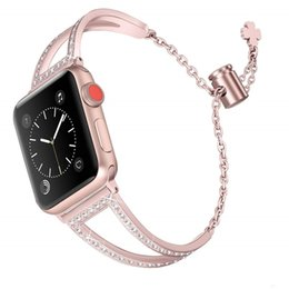 girl watches NZ - fashion women girls V-design crystal stainless steel band jewelry bracelet For Apple Watch 42mm 44mm series 5 4 3 2 1