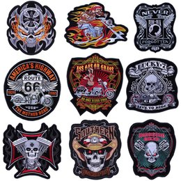 Patch Label NZ - Hot Sale! fashion trend embroidery skull locomotive punk DIY Harley Embroidery label Harley cowboy leather sewing embroidery patch Embroide