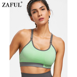 8fe611c984 ZAFUL Textured Knit Sports Bra Breathable Fitness Yoga Bras Shockproof  Padded Athletic Gym Running Workout Tank Top Sport Wear