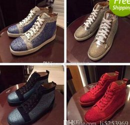 Red Bottom Shoes Women Cheap NZ - Red Bottom New Designer High Top Crystal Studded Lace Up Causal Shoe Man Woman Cheap Sneaker Red Blue Black Flat Bottom Party Shoes 35-46