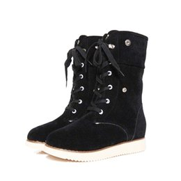 Chinese  Women Mid Calf Boots Plush Fur Keep Warm Winter Boots Female Shoes Lace Up Pu Leather Booties for Women Shoes manufacturers