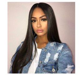 Straight Black Wig Middle Part NZ - fashion women long silky straight wig brazilian Hair Simulation Human Hair long straight black full wig with middle part