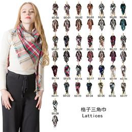 Wholesale women cape shawls resale online - Trangle Plaid Scarf Women Winter Cashmere Shawl big grid towel Pashmina Scarves lattices Cape wraps Triangular Shawls for Christmas Gifts