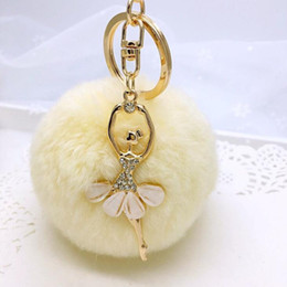 Car Shipping NZ - 17 color fashion snow ball keychain with ballerine key ring high quality rabbit hairball keychains bag accessories car key pendant free ship