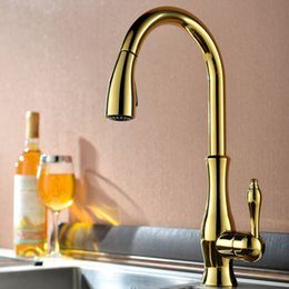Brass Levers Australia - Gold Kitchen Sink Faucet Luxury Pull Out Single Handle Lever High Arc Chrome Pull Down Spray Water Saving Mixer Brass Crane Tap