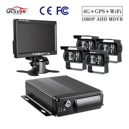 Discount trucking gps - GISION 7-inch VGA Monitor With 4Pcs Waterproof AHD Backup surveillance cameras 4CH Truck record 4G+GPS Wifi SD Mobile DV