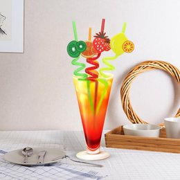 Tools Force Australia - Reusable Cartoon Fruit Drinking Straw Food Grade PP Silicone Telescopic Elastic Force Straws Party Bar Tool NNA164