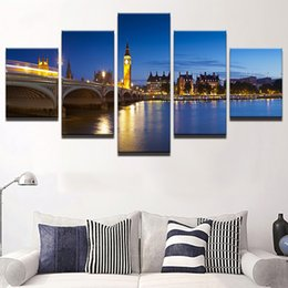 $enCountryForm.capitalKeyWord NZ - No Frame Modern Print 5 Panel City At Night Modular Cheap Pictures Wall Art For Living Room Home Decor Artwork Canvas Prints