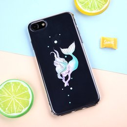 TransparenT cuTe carToon case online shopping - Crystal Gel Ultra thin Cute Cartoon Mermaid painted Soft Clear Phone Case For iPhone s se S plus plus s plus X and Samsung