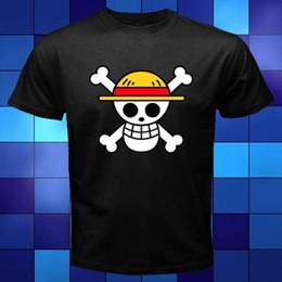 Discount pirates logos - New One Piece Pirates Skull Logo Anime Manga Black T-Shirt Size S To 3XL Short Sleeve Hip Hop Tee T Shirt Top Tee