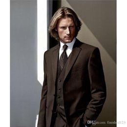 $enCountryForm.capitalKeyWord Canada - Fashionable Two Button Chocolate Brown Groom Tuxedos Notch Lapel Groomsmen Best Man Suits Mens Wedding Suits (Jacket+Pants+Vest+Tie) NO:1033