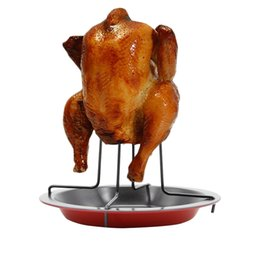 $enCountryForm.capitalKeyWord UK - Carbon Steel Chicken Roaster Rack With Bowl Tin Non-stick Cooking Tools Barbecue Fork Bake Pan BBQ Accessories