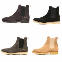 Kanye West Chelsea botas de cuero genuino de primera calidad de cuero genuino súper cómoda suela de goma cruda hombres de alta calidad Botas de mezclilla botas delgadas en venta