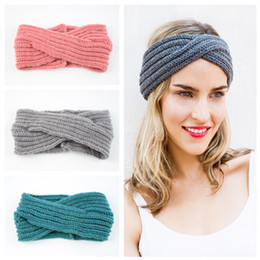 $enCountryForm.capitalKeyWord Australia - Christmas Crochet Turban Headband Winter Warmer Knitted Wool Cross Wide Hair Bands for Women Headwear Girls Hair Accessories 14 Color