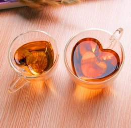 Tea lovers gifTs online shopping - Hot ml Heart Love Shaped Double Wall Layer Transparent Glass Tea Cup Lover Coffee Mug Gift SN1305