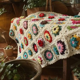 Crochet Home Australia - Handmade crocheted colored three-dimensional flower plaid blanket Home textile decorative tapestry Party decorations Christmas gifts 80*60cm