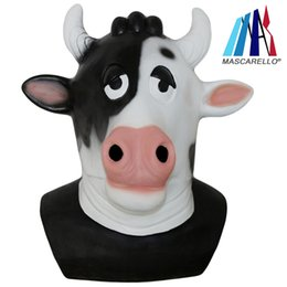 Wholesale adult cosplay cow online – ideas Latex Animal Cow OverHead Mask Cosplay Fancy Dress Halloween Party Popular Costume