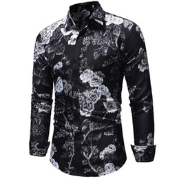 slim fit mens floral shirt UK - High Quality Shirt Men Summer 2018 Long Sleeve Fashion Men Floral Shirts Slim Fit Plus Size Business Social Shirts Mens 3XL-M