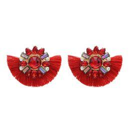 af58c8643191 Pendientes de borla elegante online-Bohemio 4 colores gran flor de acrílico  borla corta gota