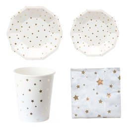 $enCountryForm.capitalKeyWord Australia - Metallic Star Moon Disposable Tableware Set Paper Plates Cups Napkins for Birthday Bridal Shower Children Party Decoration Xmas