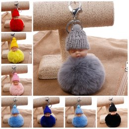 Dolls fur balls online shopping - 8cm Rabbit Fur Ball Charm Car Keyring Women Bag Pendant Kawaii Sleeping Baby Doll Keychain Pompom For Decor New Arrival qs Z