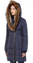 Ruffled Down Parkas Canada - Women men Parkas LONG WINTER Mack-age-TRISH-2 Down & Parkas WITH HOOD Snowdome jacket Brand Real Raccoon Collar White Duck Outerwear & Coats