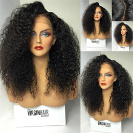 Kinky Curly Human Hair Afro Wigs Australia - Afro Kinky Curly Lace Wig Free Part Brazilian Lace Front Wigs Natural Hairline Full Lace Human Hair Wigs For African Americans