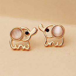 Discount white stone earrings gold - Women Men Gold Color Elephant Stud Earrings White Pink Rhinestone Cat Eye Stone Opal Earring Ear Jewelry Accessories Pen