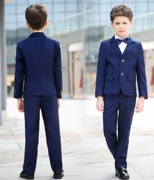 Royal Performance Suits Australia - Simple Design Kids Wear Set (Blazer+ Pant) Boys Classic Fit Notched Lapel V-Neck Royal Blue Two Buttons Wedding Performance Formal Tuxedos