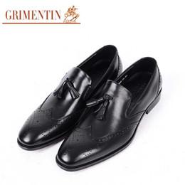 $enCountryForm.capitalKeyWord Australia - GRIMENTIN Hot Sale Mens Dress Shoes Italian Fashion Men Oxford Shoes Genuine Leather Tassel Slip-On Black Brown Business Formal Mens Shoes
