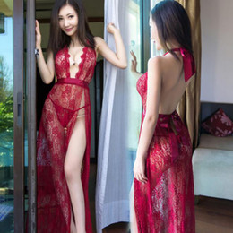 Discount exotic sex apparel - Sex Products Flirt Exotic Apparel Sexy Lingerie Deep V Neck Glamour Hollow Lace Transparent Long Maxi Beach Dress+Thongs