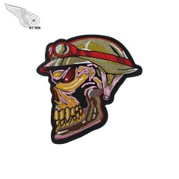 Bikers Back Patches Australia - Soldier Skull Patch Rocker Biker Motorcycle Club Jacket Vest Morale MC Back of Jacket Iron on Clothing Vest Parch Free Shipping