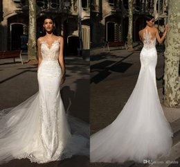 mermaid jewel dress sheer skirt 2019 - Milla Nova New Arrival 2019 Lace Mermaid Wedding Dresses Sheer Neck Court Train Summer Beach Bridal Gowns Wedding Dresss