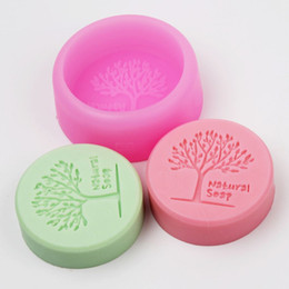 Wholesale Art Molds UK - Natrual Tree Craft Art Silicone Soap mold Craft Molds DIY Handmade Round Soap Mould