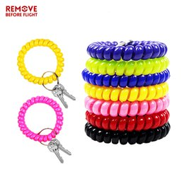 Chain Hairs NZ - Fashion Multifunctional Coil Bracelet Keychain Holder Coil Spring Chains Jewelry Hair Cable Sauna Beach Keyring Bracelets