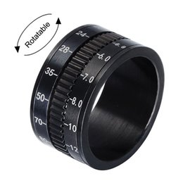 unique asian jewelry men 2020 - Unique Mens Camera Rings Black Stainless Steel SLR Telephoto Camera Ring Lens RSV Men Jewelry Spinner Band Photographers